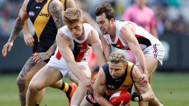 Intent scrutiny: Umpires turned mind-readers during the St Kilda Richmond clash.