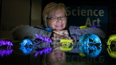 Eleanor Gates-Stuart, CSIRO Science Art Fellow with her titanium 3D bugs.