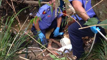 Paramedics and firefighters work to free an elderly man who was trapped in Mountain Creek after trying to rescue his dog.  <B><A href= http://www.sunshinecoastdaily.com.au/news/muddy-hell-luck-on-mans-side-after-dog-rescue-bid-/1597931/ > Patrick Williams, Sunshine Coast Daily </a></b>
