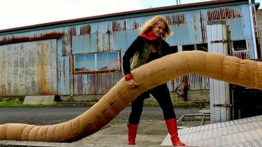 Creature feature: Playwright Melita Rowston with the giant earthworm puppet.