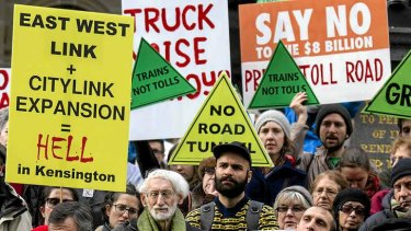 East-West link protestors march through Swanston St in June.