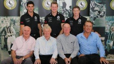 Ex-captains: Terry Waters, Des Tuddenham, Max Richardson, Peter Moore (front); Scott Pendlebury, Nathan Buckley, Scott Burns.
