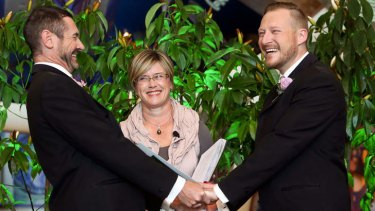 Paul McCarthy (L) and Trent Kandler, first Australian same sex couple to wed in New Zealand.