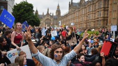 Protesters gather against the EU referendum result in Trafalgar Square on Tuesday.