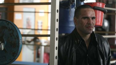 Gloves off ... Anthony Mundine holds a news conference at his Redfern gym yesterday to promote his coming fight with Rigoberto Alvarez.