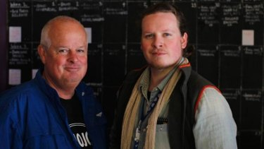 Optimists: Chris Dockrill with his son Luke. Chris hopes to sell the play to American producers.