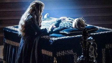Cersei Lannister mourning her son Joffrey at the sept.