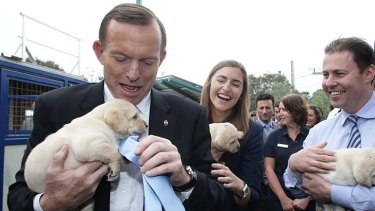 Tony Abbott, with daughter Frances, holds a puppy at Victoria Guide Dogs the day before the election.