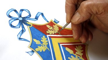 New Coat of Arms ... Robert Parsons, sketches the Middleton family crest at the College of Arms in London.