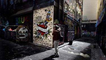 Heartfelt pride: Hosier Lane in Melbourne gets a makeover.