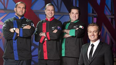 Iron men... Grant Denyer, right, with Guillaume Brahimi, Neil Perry and Guy Grossi.