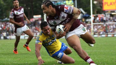 Manly centre Steve Matai scores the match-winning try against Parramatta.