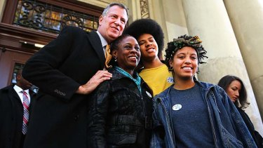 Bill de Blasio with his wife Chirlane McCray, son Dante de Blasio and daughter Chiara de Blasio.