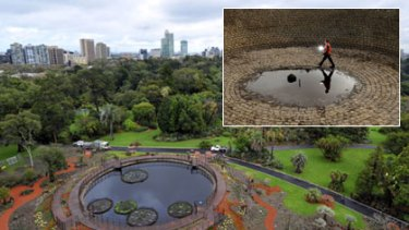 The restored Guilfoyle's Volcano in Melbourne's Royal Botanic Gardens and (inset) what it looked like in July 2008.