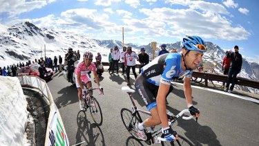Elevated hopes: Canada's Ryder Hesjedal leads Spain's Giro d'Italia leader Joaquim Rodriguez over the Italian Alps.