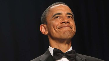 And now for the really serious issues ... Barack Obama at the White House Correspondents' Association annual dinner.