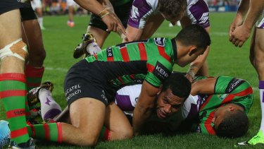 Hidden: Storm's Sisa Waqa had this attempted try disallowed by the TV referee.