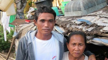 """""""Please come home"""" ... Sam's brother Rudi and mother, Asia, on the Indonesian island of Bima, where they live."""