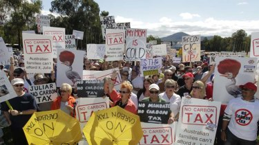Protesters at the No Carbon Tax rally outside Parliament House in Canberra today.
