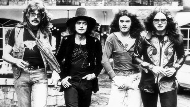 Deep Purple in Australia to play Sunbury in '75. From left, Jon Lord, Ritchie Blackmore, Glenn Hughes, David Coverdale.