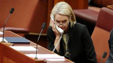 Senator Fiona Nash in the Senate at Parliament House in Canberra on Monday 4 September 2017. Fedpol Photo: Alex Ellinghausen