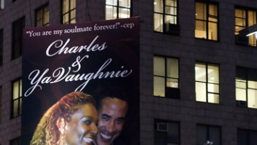 Revenge ... the billboard can be seen on the corner of 52nd Street and Broadway in New York.