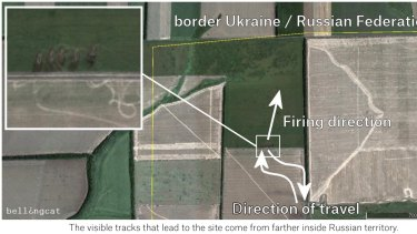 A still from the Bellingcat report shows launch positions of rockets fired from Russia at Ukraine forces.