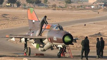 The Syrian air force Russian-made MiG-21 plane that a pilot landed with in the King Hussein military base in Mafraq in northern Jordan.