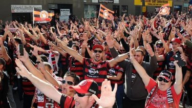Who do they sing for? Western Sydney Wanderers fans at the A-League grand final.