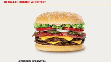Top of the list ... Hungry Jack's Ultimate Double Whopper, as advertised on its website.