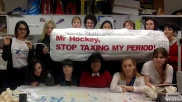 """Stop taxing my period"": A video questioner poses her question in a manner that stopped the treasurer in his tracks."