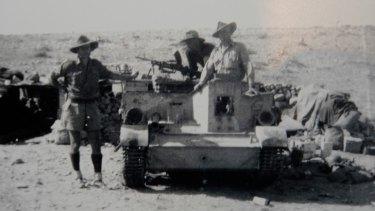 Caple as a Bren gun carrier crew member at Tobruk.