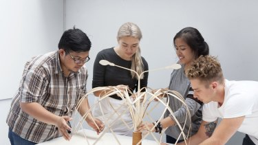 The students were tasked with developing a sustainable street vendor shelter for Jakarta vendors.