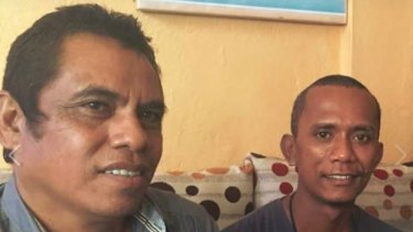 East Timorese journalists Lourenco Vicente, left, and Raimundos Oki, right.