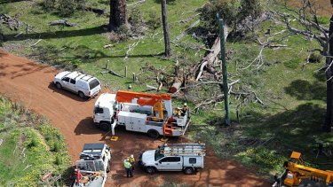Western Power crews were kept busy earlier this year after power lines were brought down in heavy storms.