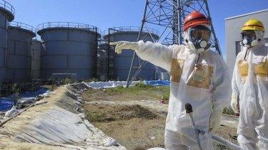 Leaks: Nuclear regulators inspect the storage tanks.