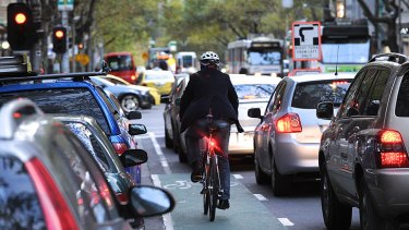 In bumper to bumper traffic, bicycles are often the only vehicles moving.