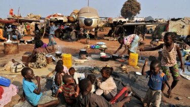 Seeking refuge: A camp for displaced people at the Mpoko airport in Bangui. Nearly 1 million people have fled their homes.