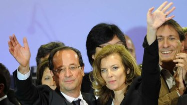 Francois Hollande (left) and his companion Valerie Trierweiler.