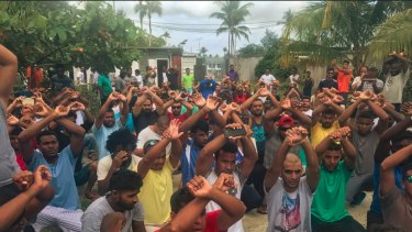 A Manus Island photo tweeted by Greens senator Nick McKim on October 31.