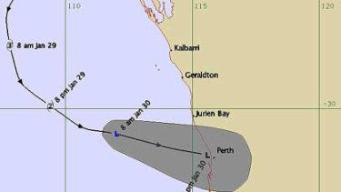 The latest modelling of the path of Cyclone Bianca, as at 9.26am on Sunday, the low pressure system has weakened below cyclone intensity.