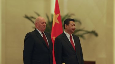 General General Peter Cosgrove meets China's President Xi Jinping at the Great Hall of People in Beijing.