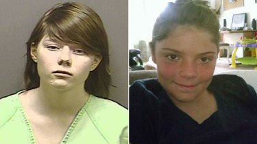 Guilty ... Alyssa Bustamante, left, strangled neighbour Elizabeth Olten, 9, before cutting her throat.