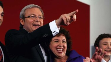Elected ... Kevin Rudd with his wife, Therese,  in 2007.