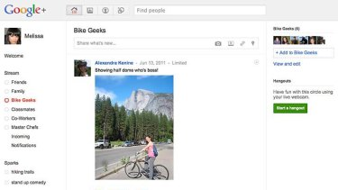 Another screen shot of the Google Plus social network is shown in this publicity photo.