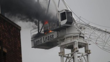 The crane on fire.