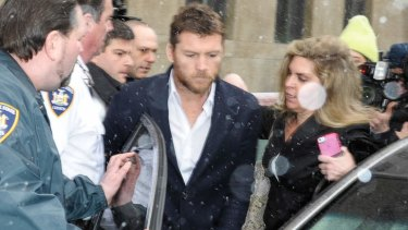 Restraining order: Sam Worthington leaves court.