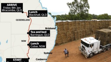 "In conjunction with the Chinchilla-based Drought Angels, Mr Farrell, who has largely organised the hay drive by himself – ""I don't have time for a committee"" – will leave with most of the trucks from Darlington Point, near Griffith, on January 7."