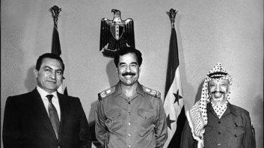 Hosni Mubarak with Yasser Arafat and Saddam Hussein in 1988.