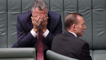 Treasurer Joe Hockey and Prime Minister Tony Abbott during Question Time on Tuesday . Photo: Alex Ellinghausen